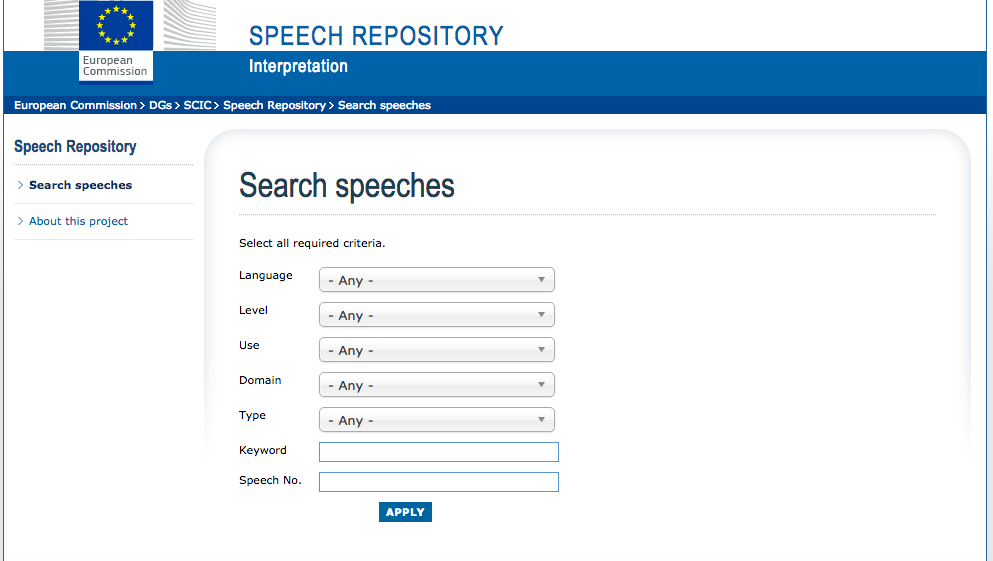 Speech Repository screenshot